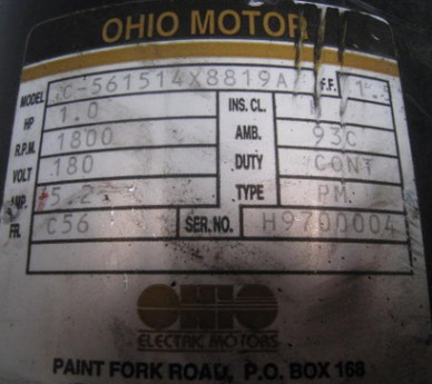 1.1HP Ohio Motor DC Motor, Model: C-561 514 X 8819 A