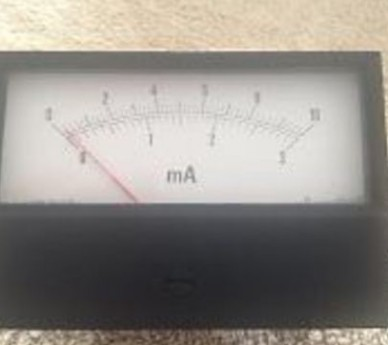 Ammeter moving coil movement 1mA, f.s.d